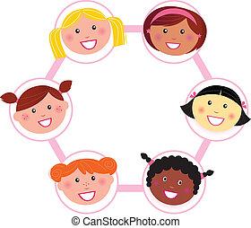 frau, multi, -, kulturell, gruppe, einheit