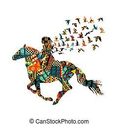 frau, muster, bunte, reiten, motive, ethnisch, vögel