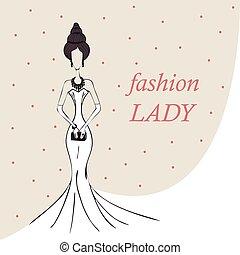 Frau oder Mädchen. Modegeschichte. Vector