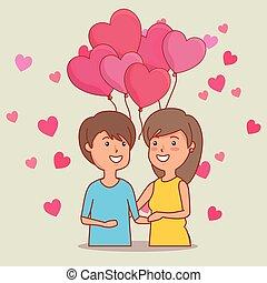 frau, paar, valentines, herzen, luftballone, tag, mann