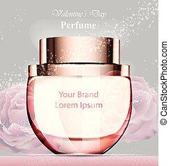 Frau Parfümflasche zarte Rosenduft. Realistische Verpackungen von Vector Product verspotten Blumenhintergründe