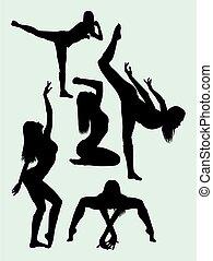 frau, pilates, silhouetten