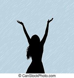 frau, rain.eps, genießen, hwo, silhouette