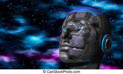 frau, raum, cyborg, -, humanoid, tief