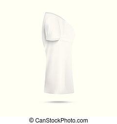 frau, realistisch, t-shirt, ansicht, isolated., seite, abbildung, schablone, vektor