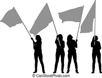 frau, satz, weißes, silhouetten, flaggen, hintergrund