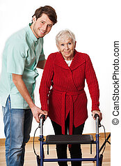 frau, senioren, physiotherapeut