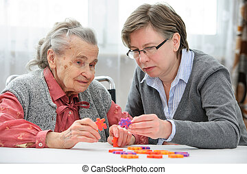 frau, sie, älter, älter, krankenschwester, sorgfalt
