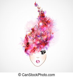 Frau Silhouette, abstrakte Haare.
