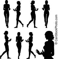 frau, silhouette, halt, hand, schieben, oder, gebärde