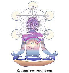 frau, silhouette, illustration., pose., geometry., lotos, sitzen, vektor, aura, heilig, aufwendig, meditation, chakras.