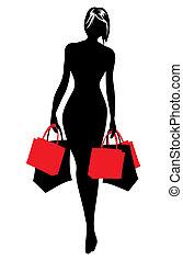 Frau Silhouette im Einkaufen.