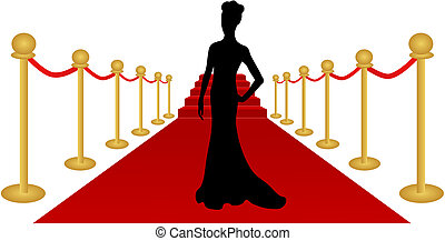 Frau Silhouette Roter Teppichvektor