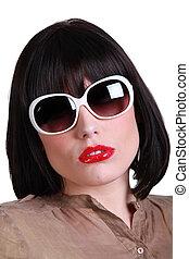 frau, sonnenbrille, hochentwickelt