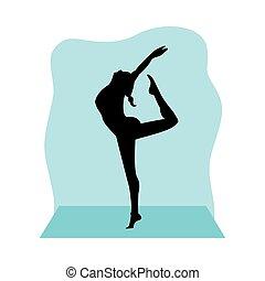 frau, sport, silhouette, athletische, tanz, üben