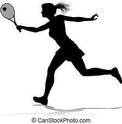 frau, tennis, sport, silhouette, spieler