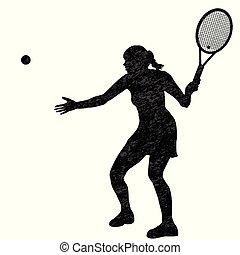 frau, tennisspieler, silhouette