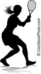 frau, tennisspieler, sport, silhouette