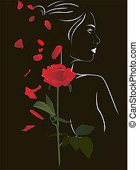 Frau und Rose