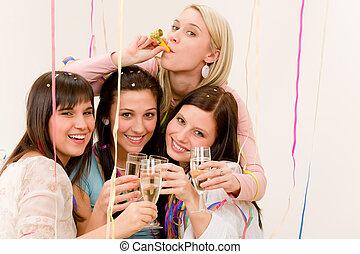 frau, -, vier, konfetti, geburstag, haben spaß, party, feier