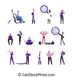 frau, wheelchair., doktoren, karikatur, charaktere, glas., husten, patient, vergrößern, vektor, abbildung, zubehörteil, addiction., mediziner, schieben, mann, hantel, satz, weibliche , leute, bodybuilder