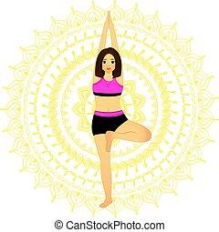 frau, yoga., schöne