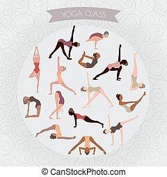 Frauen üben Yoga für Design. S