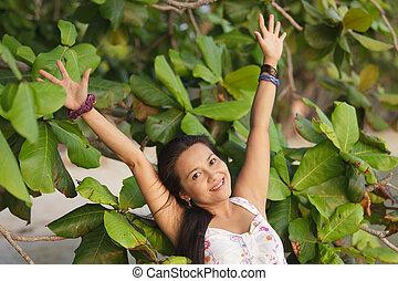 Frauen atmen in der Natur