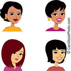 Frauen avatar Cartoon multiethnisch