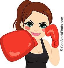 Frauen Boxhandschuhe.