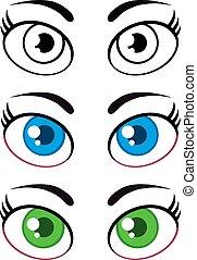 Frauen-Cartoon-Augen. Sammlung