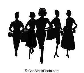 Frauen, die in Silhouette einkaufen.