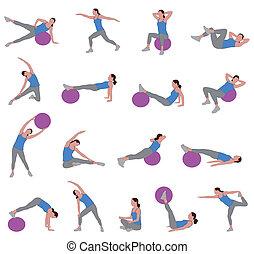 Frauen, die Pilates machen.