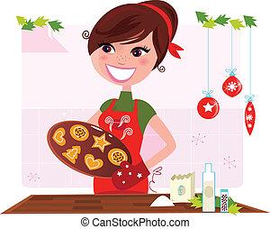 Frauen, die Weihnachtskekse vorbereiten