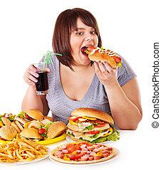 Frauen essen Fast Food.