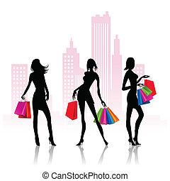 Frauen gehen einkaufen