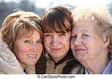 frauen, generationen, porträt, eins, familie, drei
