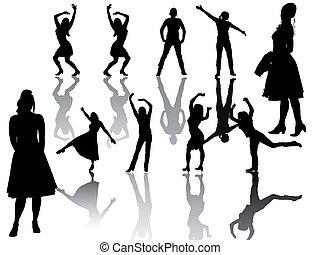 Frauen - Gruppe - Silhouette