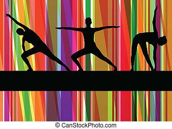 Frauen Gymnastik-Übungen Fitness Illustration farbenfrohe Linienhintergrundvektor.