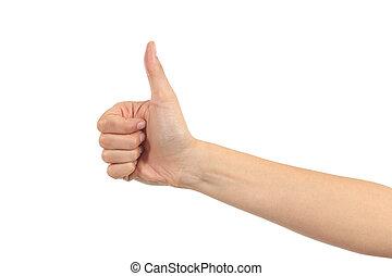 Frauen Hand mit Daumen hoch