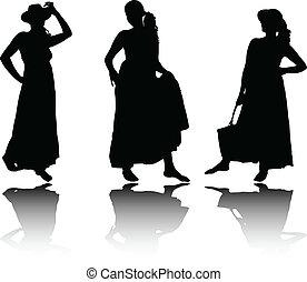 Frauen im Sommer kleiden Silhouette