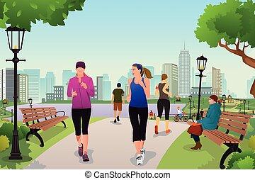 Frauen in einem Park.