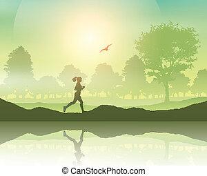 Frauen joggen auf dem Land.