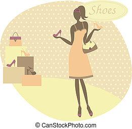 Frauen kaufen Schuhe