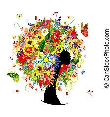 Frauen-Kopf-Design, vier Staffeln Haarstil mit Blatt und Blumen