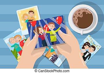 Frauen suchen Fotos über eine Tasse Kaffee, Hände mit Familienfotos Vektor Illustration Element für Design und Web.