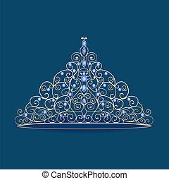 Frauen-Tara-Kronenhochzeit mit blauen Steinen auf Blau
