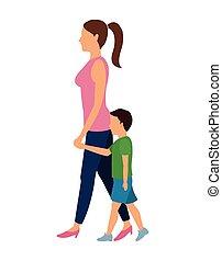 Frauen und Kinder, die sich bewegen.