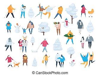 frauen, weihnachten, charaktere, winter, freigestellt, tragen, vektor, maenner, kinder, familie, weißes, karikatur, shoppen, spaziergang, geschenke, weihnachten, wintertime., satz, leute, abbildung, hintergrund, baum