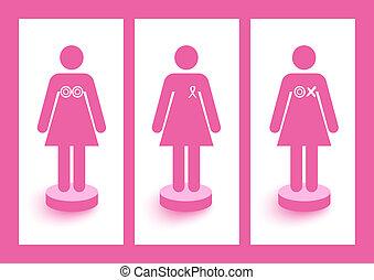 Frauen zeugen von Bändern und Symbolen für Brustkrebsbewusstsein und Präventionskampagne. EPS10 Vektordatei organisiert in Schichten für leichte Schnitte.